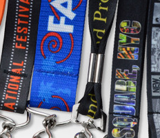 A close-up of Brady People ID custom dye-sublimated lanyards