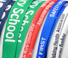 A close-up of Brady People ID custom woven-in lanyards
