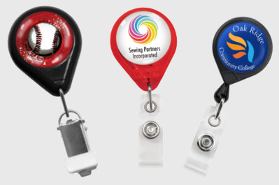 Three custom badge reels from Brady People ID
